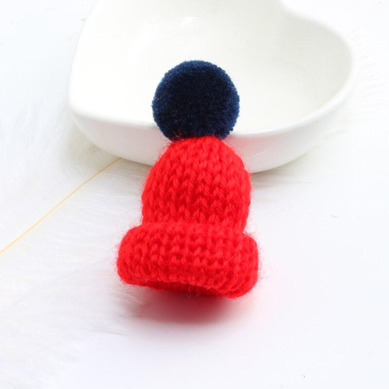 Нагрудные булавки брошь для женщин Милая Мини вязанная Hairball брошь «шляпа» булавка для свитера куртки значок ювелирные изделия шерстяной шар DIY подарок для женщин и девочек - Окраска металла: black-red