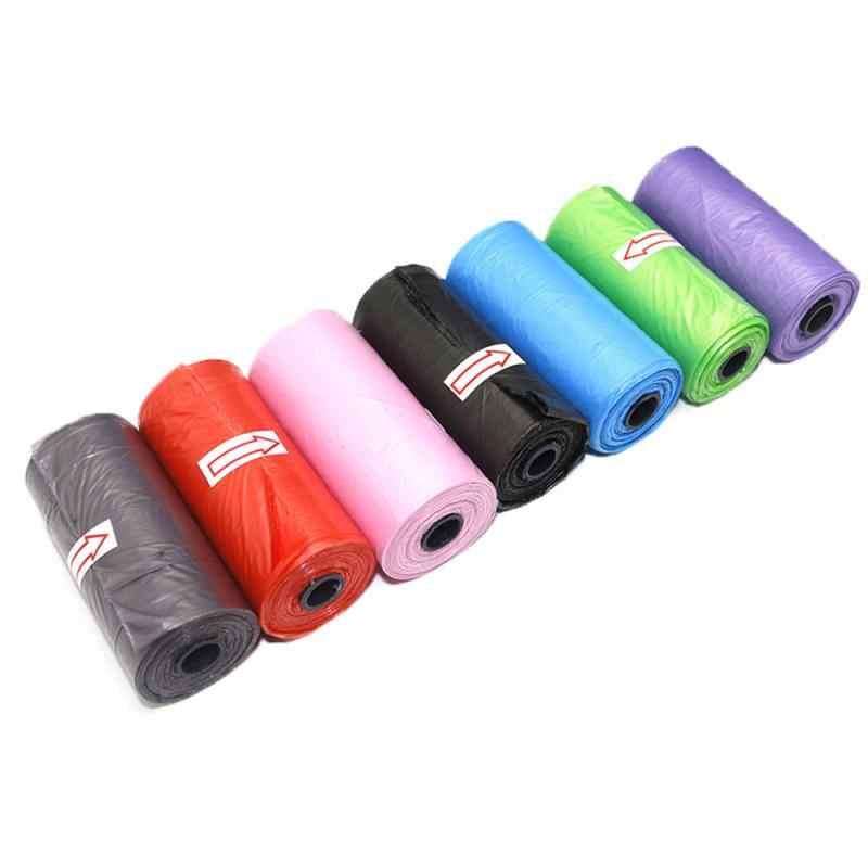 15 Pcs/Rotolo Pet Sacchetto di Immondizia Sacchetto di Immondizia di Colore Solido Verde Sacchetto di Immondizia Pick Up Sacchetto Degradabile Sacchetto di Materiale