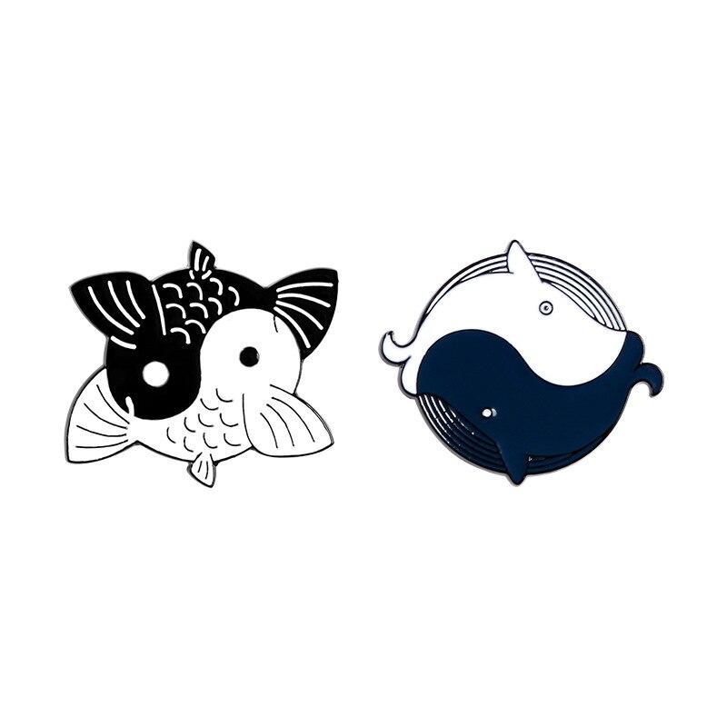 Hitam Dan Putih Tai Chi Whale Logam Enamel Bros Kartun Yin Yang Ikan Koi Pin Lencana Pesona Trendi Kostum Ransel Perhiasan Hadiah Bros Aliexpress