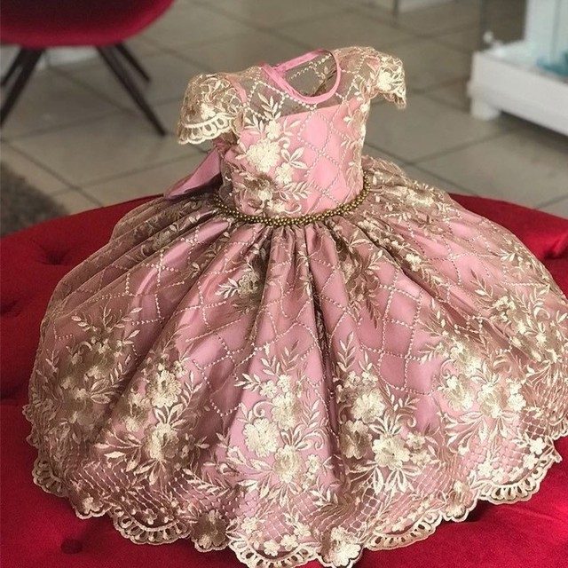 Princess Kids Dresses for Girls Tutu Lace Flower Embroidered Ball Gown Children Wedding Party 2