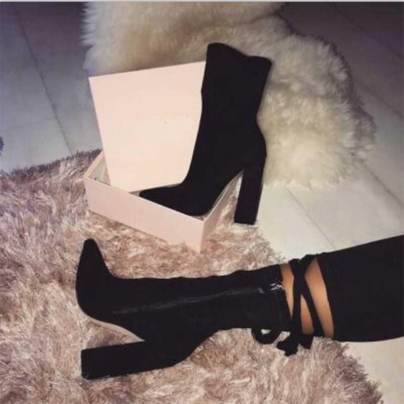 2020 moda kadın 10cm yüksek topuklu Glitter fetiş çizmeler Bling kalın blok topuklu lüks Bling yarım çizmeler streç tıknaz ayakkabı