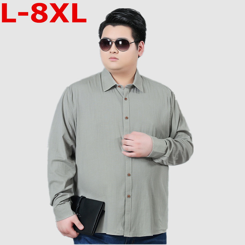 Plus Size 8XL 7XL 6XL Spring Mens Casual Shirts Cotton Linen Gray Color Brand Clothing Man's Long Sleeve Loose Clothes Male Tops