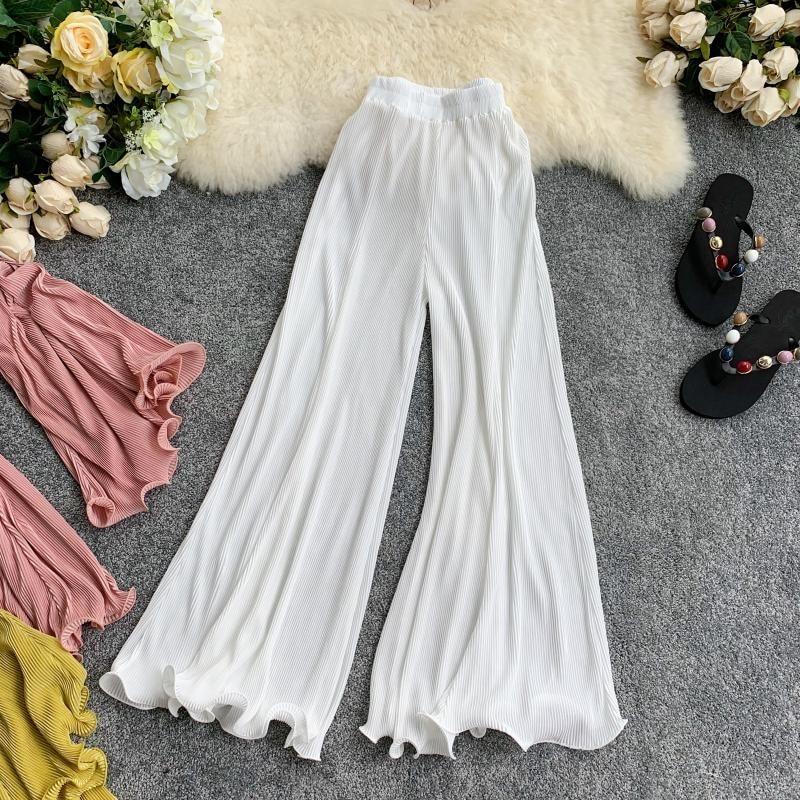 Fashion Nice Summer Retro Wide Leg Pants Women Elastic Waist Solid Casual Loose Pants Female Trousers High Waist Flare Pants
