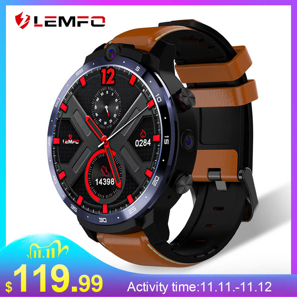 LEMFO LEM12 2020 Newest Face ID 1 6 Inch Dual Camera LTE 4G Smart Watch Android 7 1 3GB 32GB 1800mah Battery Men Smartwatch