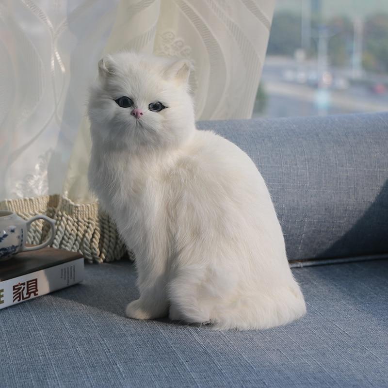 Realistic Cute Simulation Stuffed Plush White Persian Cats Toys Cat Dolls Table Decor Kids Boys Girls Xmas Gift