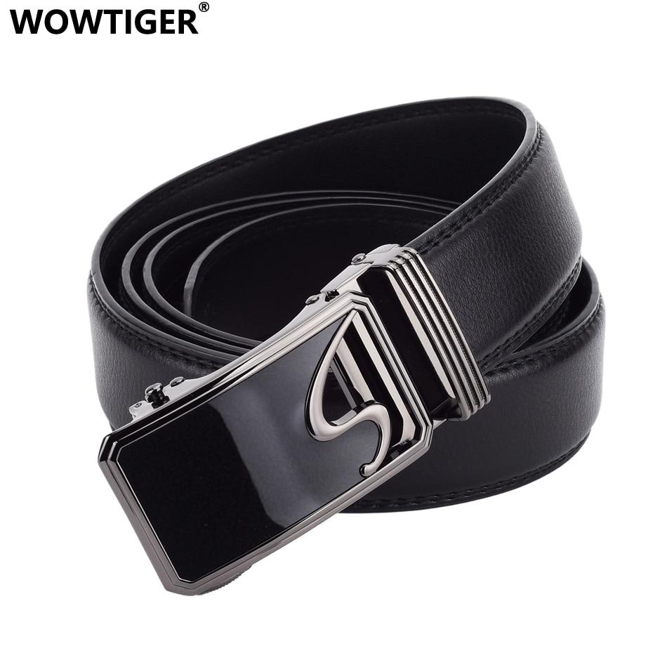 WOWTIGER Letter Gun Black Automatic Buckle Belts For Men 3.5cm Width Leather Adjustable Luxury Brand Clothing Belt Male Strap
