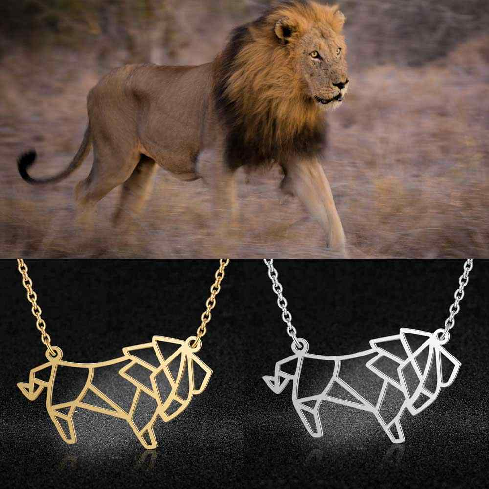 100% Stainless Steel Animal Lion Fashion Necklace for Women Unique Design Pendant Necklaces Wholesale Personality Jewellery