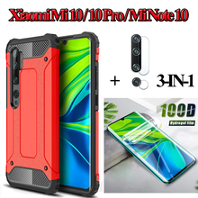 Hydrogel Film not glass+Armor case for mi note 10 lite silicone cover for mi-10-pro xiaomi shockproof cases note10-pro mi10youth