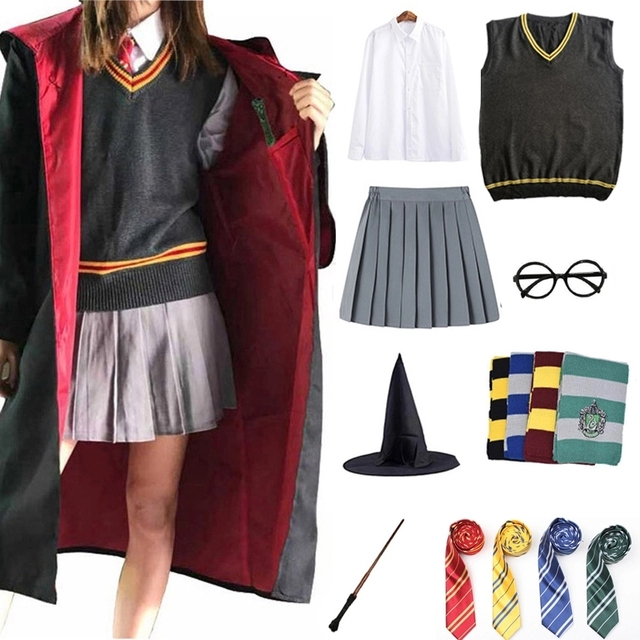 Children Cosplay Costume Potter Outfits Magic Robe Cloak Cape Hermione Cosplay Clothes Skirt Sweater Scarf Wand Accessories