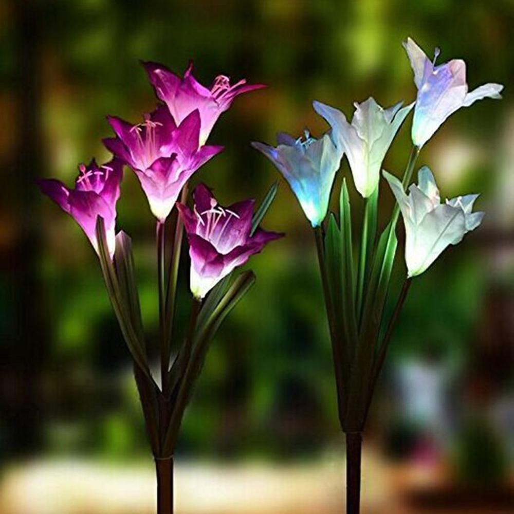 Outdoor 4 Solar Lily Lantern Led Artificial Flower Decorative Light Garden Floor Inserting Lawn Light