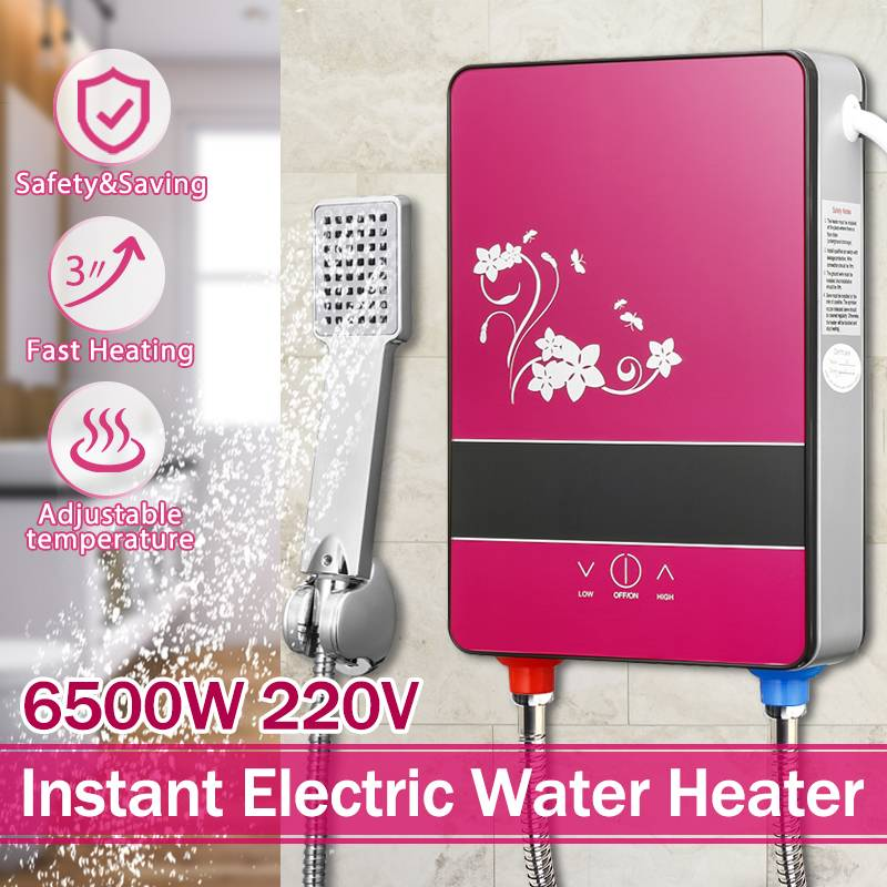 220V 6500W Electric Hot Water Heater Tankless Instant Heating Set Bathroom Self-checking Automatically Safety With Shower Nozzle