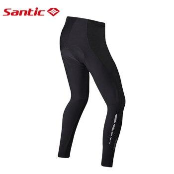 Santic Cycling Bike Bicycle Padded Long Pants 4D Pad Men Autumn Winter Breathable Riding Bike Tights Full Length Bike Equipments