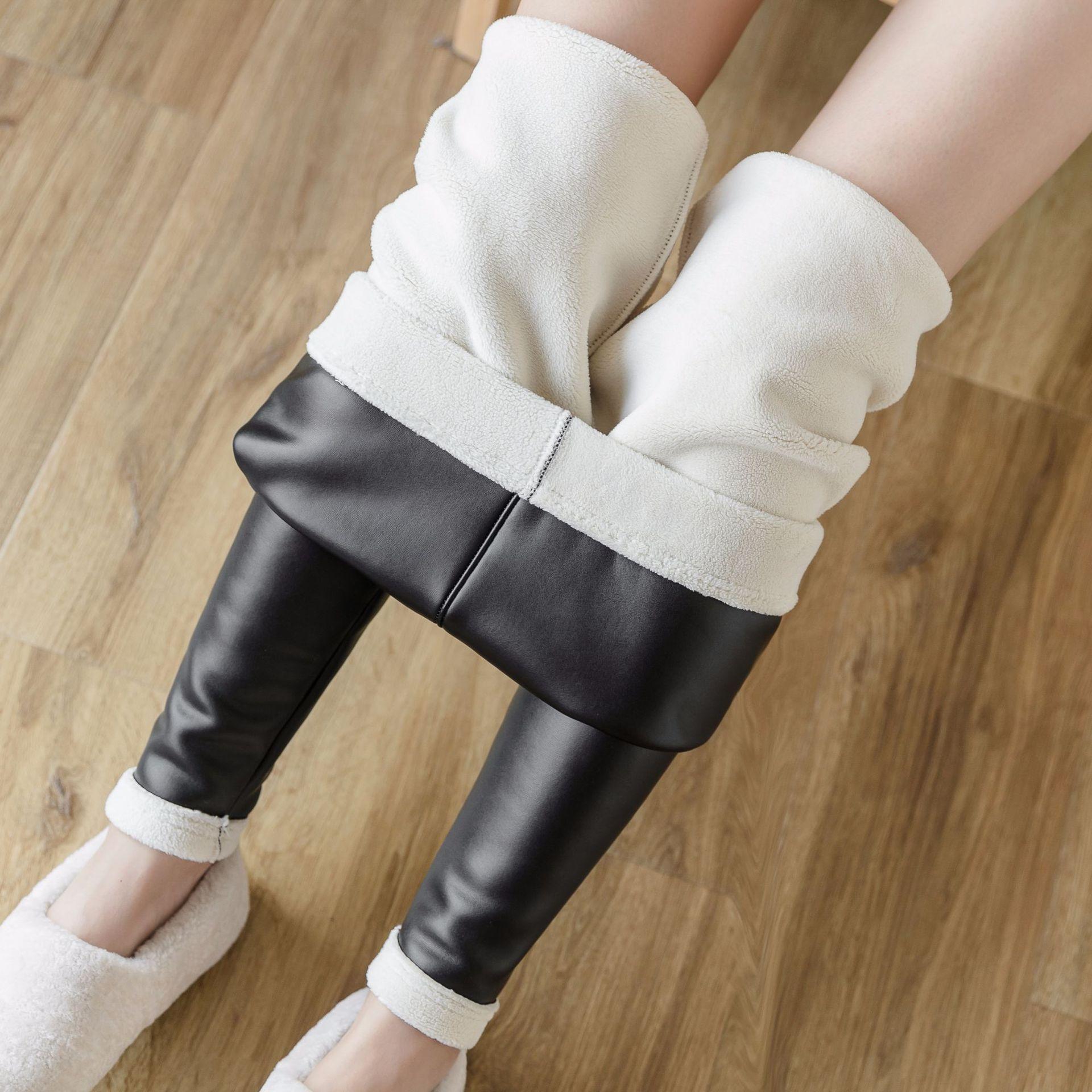 Women Winter Warm Slim PU Leather Leggings High Waist Skinny Faux Leather Pants Female Thick Fleece Velvet Legging Plus Size 4XL