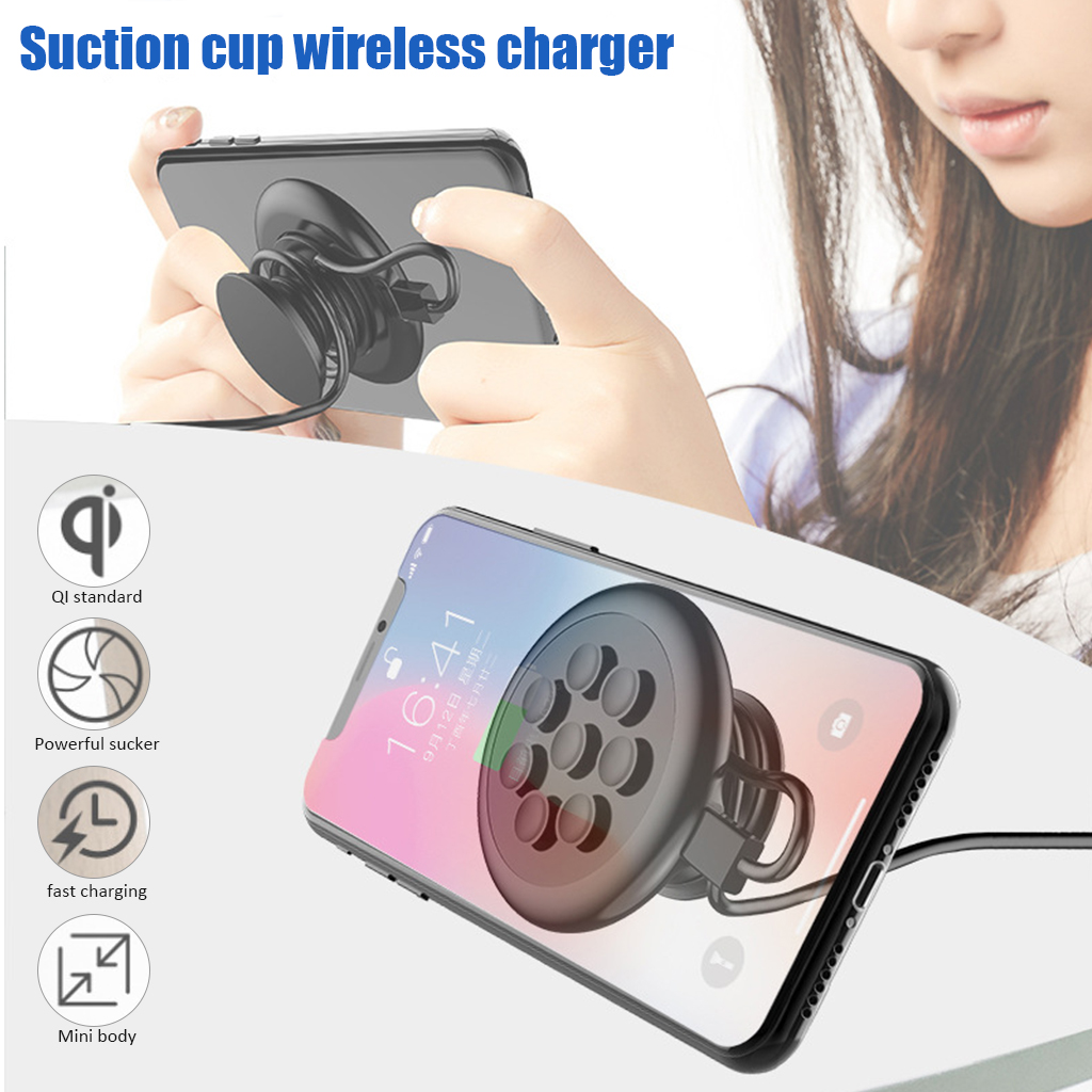 High quality Portable 10w Suction Cup Wireless Charger Fast Wireless charging Pad For iPhone XR XS Max Samsung|Wireless Chargers| |  - title=