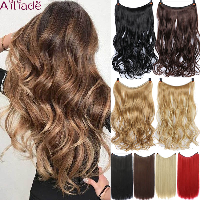 AILIADE 24 Inches Women Invisible Fish Line Hair Extensions Brown Natural Wavy Long High Tempreture Fiber Synthetic Hairpiece