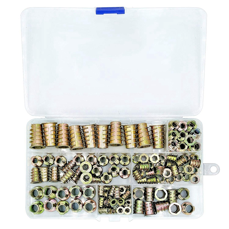 BMBY 120 Piece Metric Thread Insert Nut Type Tool Kit For Wood Furniture Zinc Alloy Furniture Bolt Fastener Connector Hex Socket|Nuts| |  - title=