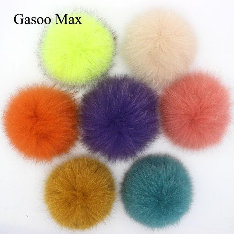 DIY 13cm 15cm Real Fox Fur Pompom For Knitted Scarf Autumn Winter Scarves Genuine Raccoon Fur Pom Pom For Hats Scarves&Wraps