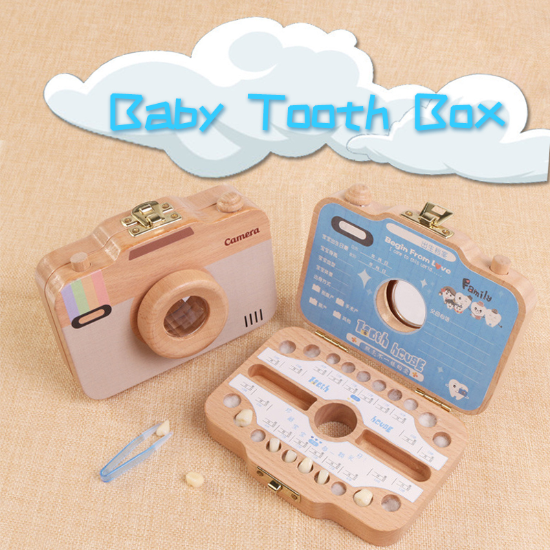 Lovely Baby Tooth Keepsake Box Camera Shaped Wooden Container Storage Children Camera Shape Tooth Box toy for xmas gifts