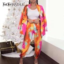 TWOTWINSTYLE-Conjunto de dos piezas para mujer, chaqueta de manga larga con muescas, pantalones informales, conjuntos de colores