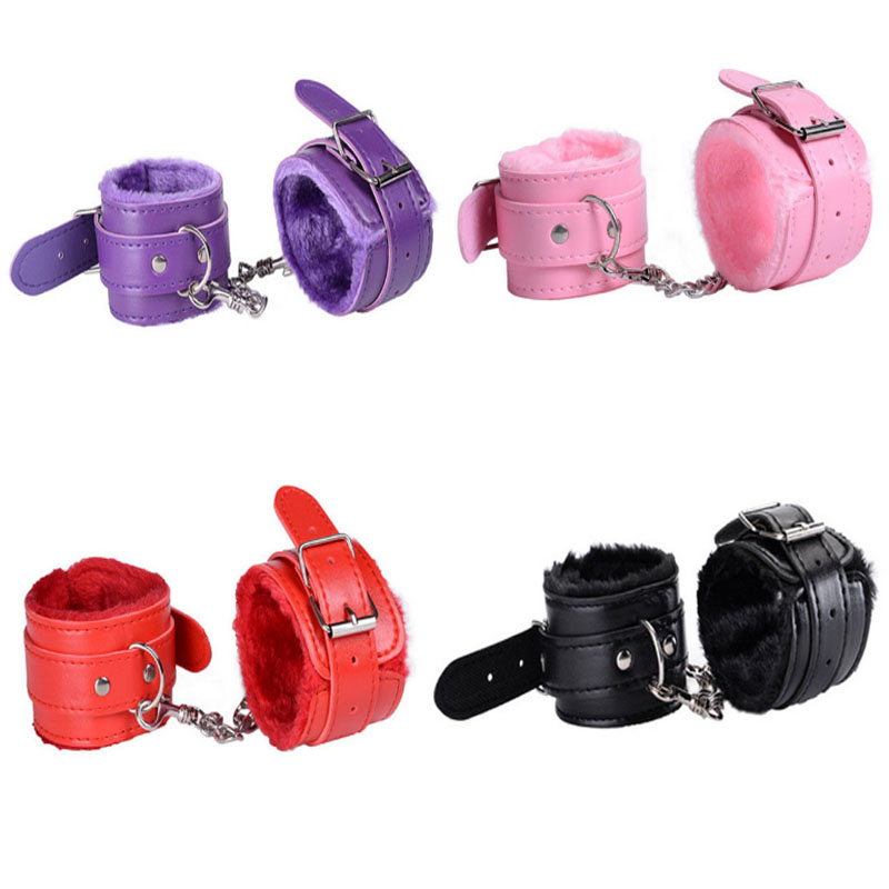 Pretend HandCuffs Sexy Play PU Leather With Keys Police Role Cosplay Tools Police Toy For Children Boy Birthday Gifts