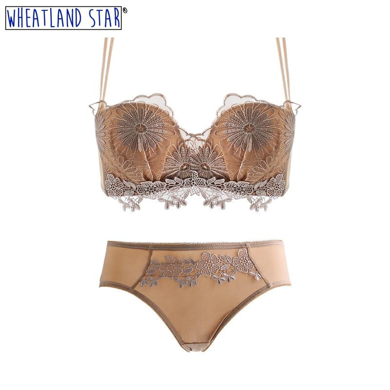 Wheatland Star Wire Free Bra Set Push Up Bra Lace Lingerie Set Women's Intimates Original Design Fashion Sexy Recommended