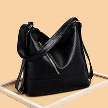 Kadınlar Hobos Çanta Lüks Marka 2019 Vintage Tasarımcı Kadın omuz çantaları Büyük Kapasiteli Yumuşak Deri postacı çantası Ana Kesesi