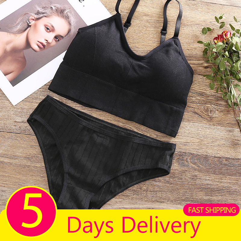 Fast Shipping Cotton Bralette 3pcs Cotton Panties Women Sexy Bra Female Lingerie Padded Bra Soft Tank Crop Tops M-XL Underpants