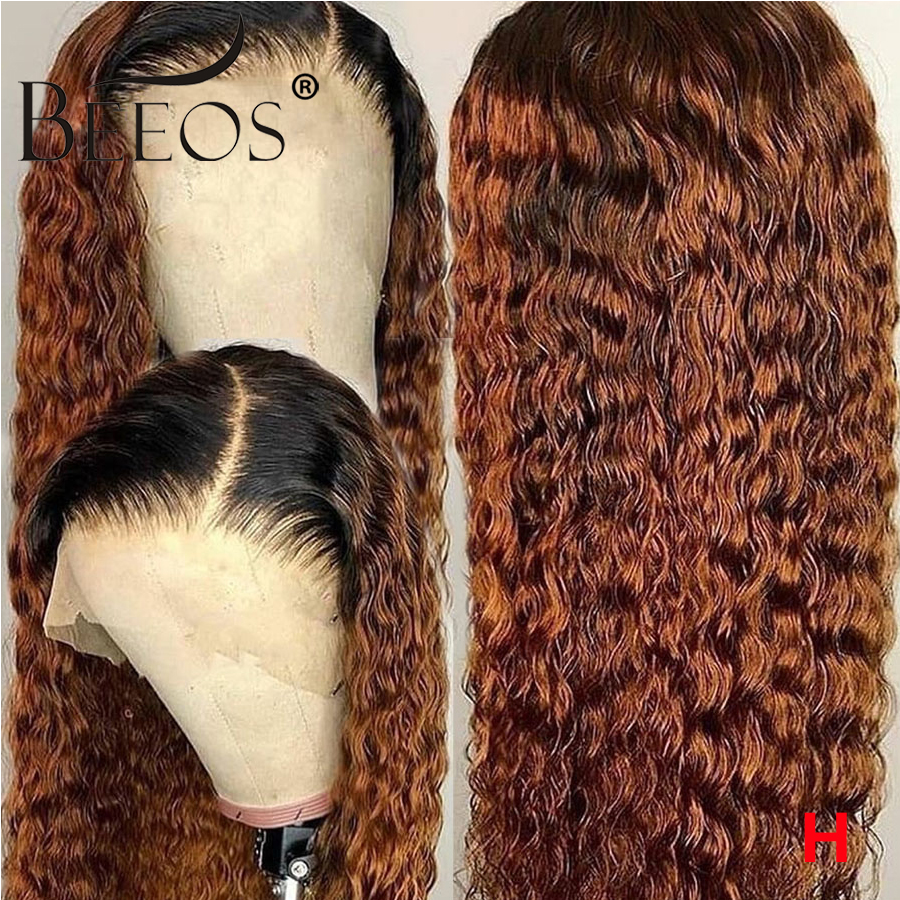 Beeos Ombre Honey Blonde 1b/30 Curly Human Hair Wig 180% Brazilian Remy Preplucked 13*6 Lace Front Wig Glueless Baby Hair