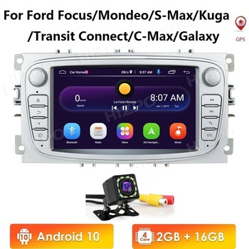 2 Din Android 10 Car Radio GPS for FORD Focus S-MAX Mondeo C-MAX Galaxy 2007-2012 Multimedia Player Video USB DVR FM WIFI No DVD image