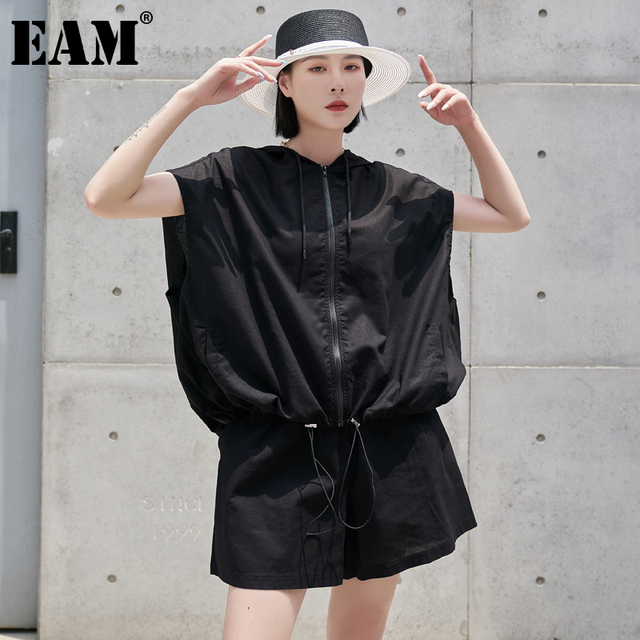 [EAM] Wide Leg Shorts Oversized Two Piece Suit New Hooded Sleeveless Black Loose Fit Women Fashion Spring Summer 2021 1DE0282 1