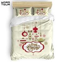 WARMTOUR Duvet Cover Merry Christams Day Ceremony Duvet Cover Set 4 Piece Bedding Set For Beds