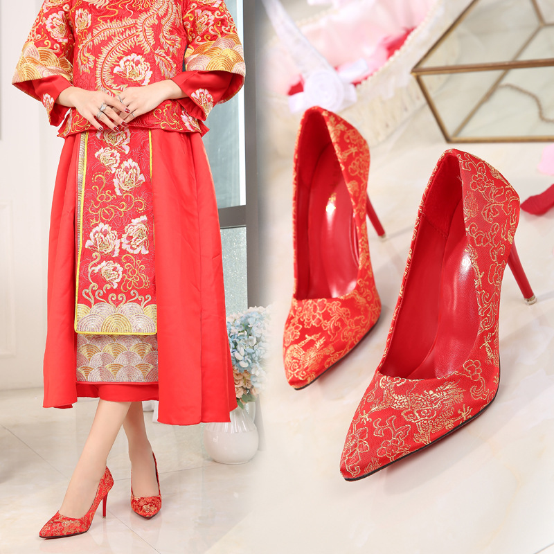 Marriage Shoes Red Chinese Style Embroidery Embroidered Thin Heeled High Heel Pointed Bridal Shoes Wedding Shoes Red Shoes Cheon