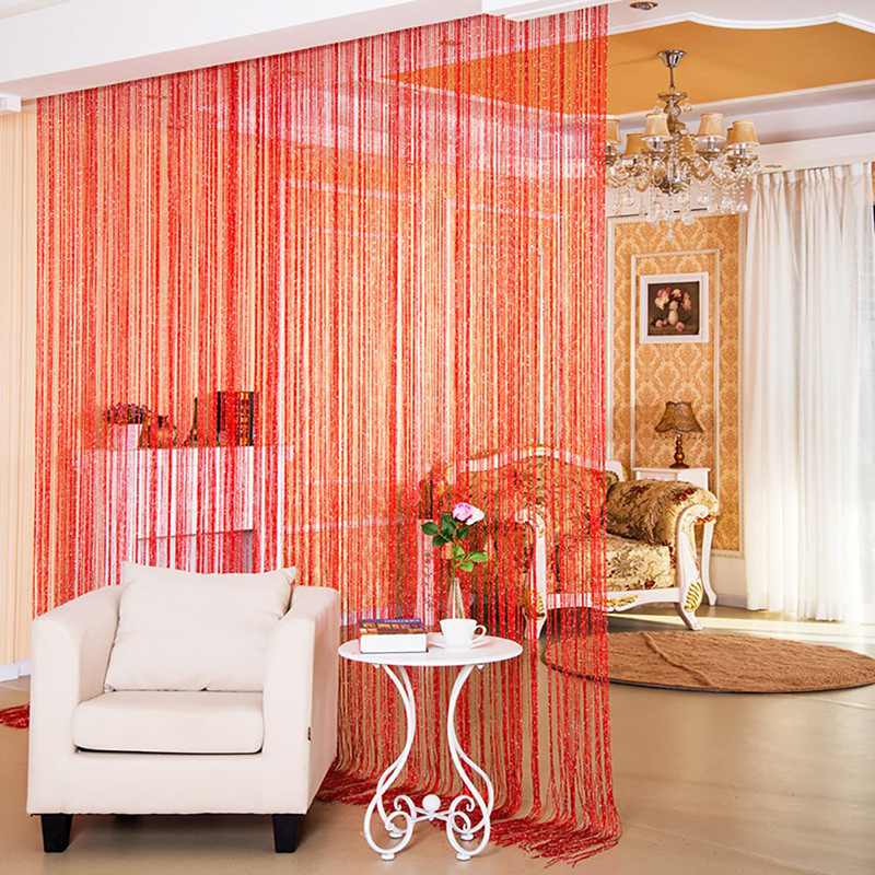 Glitter Fringe String Curtain Shiny Tassel Flash Silver Line String Curtain Window Panel Room Divider Fly Screen Door Hanging