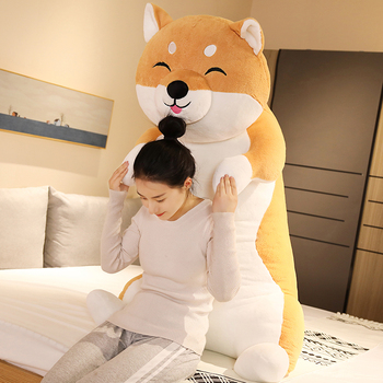 New Jumbo Animal Husky Plush Toy Giant Soft Cartoon Shiba Inu Dog Doll Girl Sleeping Pillow Cute Gift Decoration 130cm 160cm