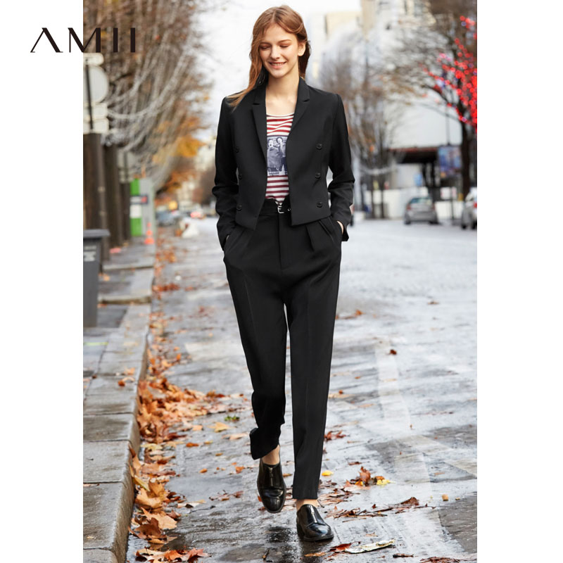 Amii Minimalist Autumn Two Pieces Set Office Lady Solid Short Suit Slim Long Pants Elegant Female Suits 11940031