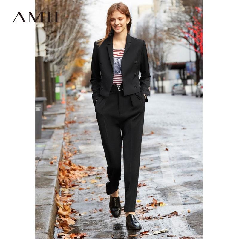 Amii Minimalist Autumn Two Pieces Set Office Lady Solid Short Suit Slim Long Pants Elegant Female Suits 11940031