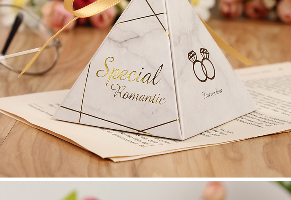 Triangular Pyramid Marble Candy Box Wedding Favors and Gifts Boxes Chocolate Box for Guests Giveaways Boxes Party Supplies-15