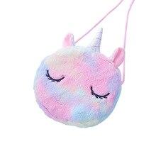 Storage-Box Unicorn Cosmetic-Bag Pencil-Case Fur-Shoulder Color Cute New Girl Cartoon