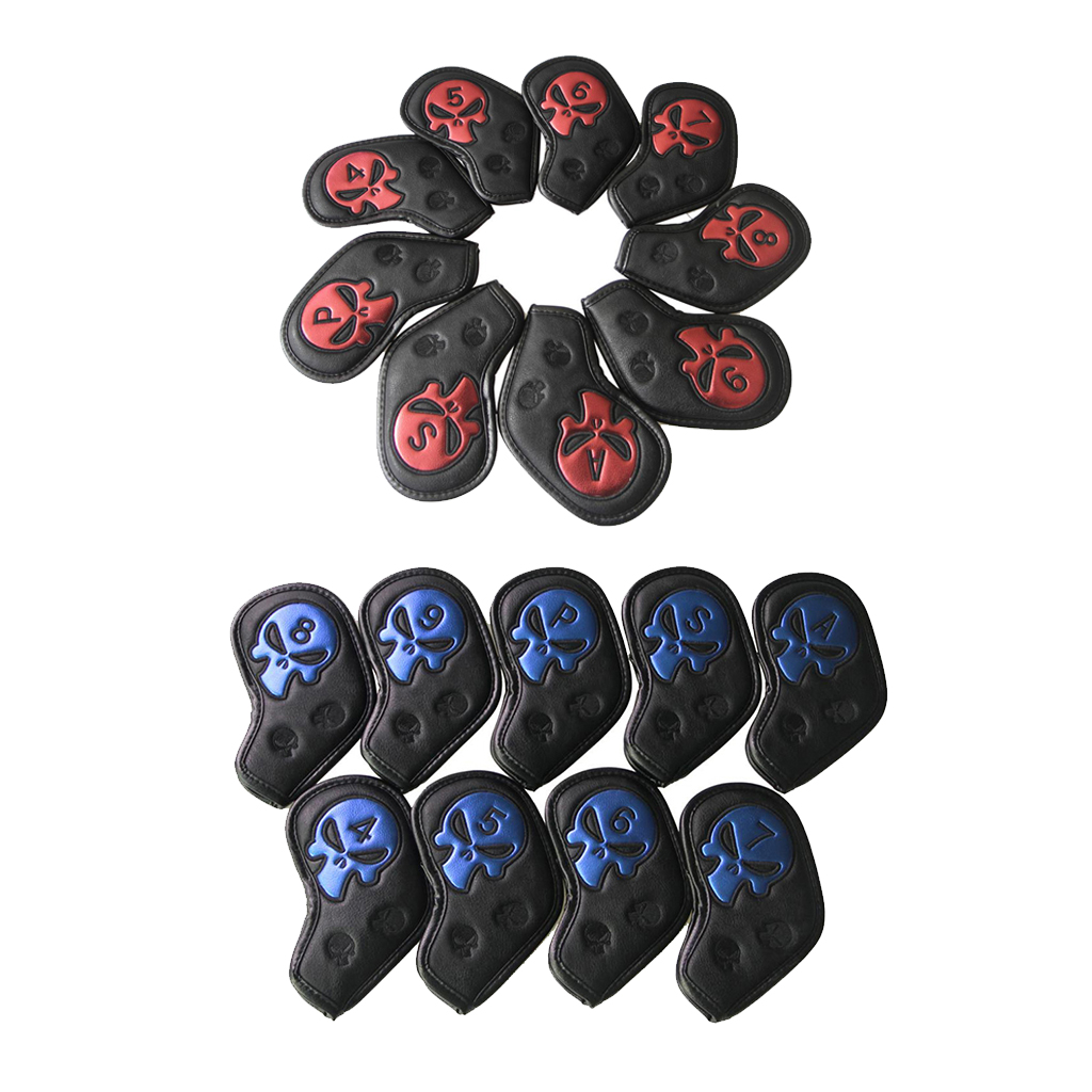 9Pcs/Set Waterproof PU Skull Sports Golf Iron Head Cover Putter Protector Headcover- 2 Colors