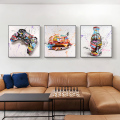 Граффити, гамбургеры, игровые контроллеры, напитки, уличное искусство, холст, печатная живопись, модная Настенная картина, украшение для гос...