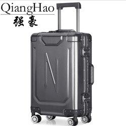 100% alumínio-liga de magnésio men rolling bagagem spinner roda mala 20 polegada cabine trole senha viagem saco
