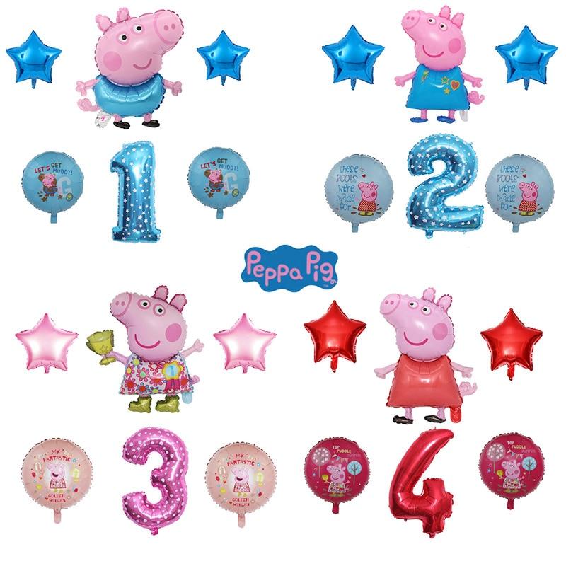 Новинка, фигурка свиньи Пеппа, шар, игрушки, день рождения Джордж Пеппа, украшения, фольгированные шары, вечерние шары Пеппа Джордж, подарки ...