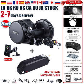 Bafang BBS02B 48V 750W zestaw do konwersji silnika elektrycznego z napędem pośrednim G340 750 E silnik rowerowy z akumulatorem 17 5Ah Samsung Cells tanie i dobre opinie CN (pochodzenie) Bezszczotkowy 48 v 400 w Silnik zawieszony z boku 44T 46T 48T 52T C961 C965 P850C 750C 500C SW102 DPC18 750C BT 860C KD986