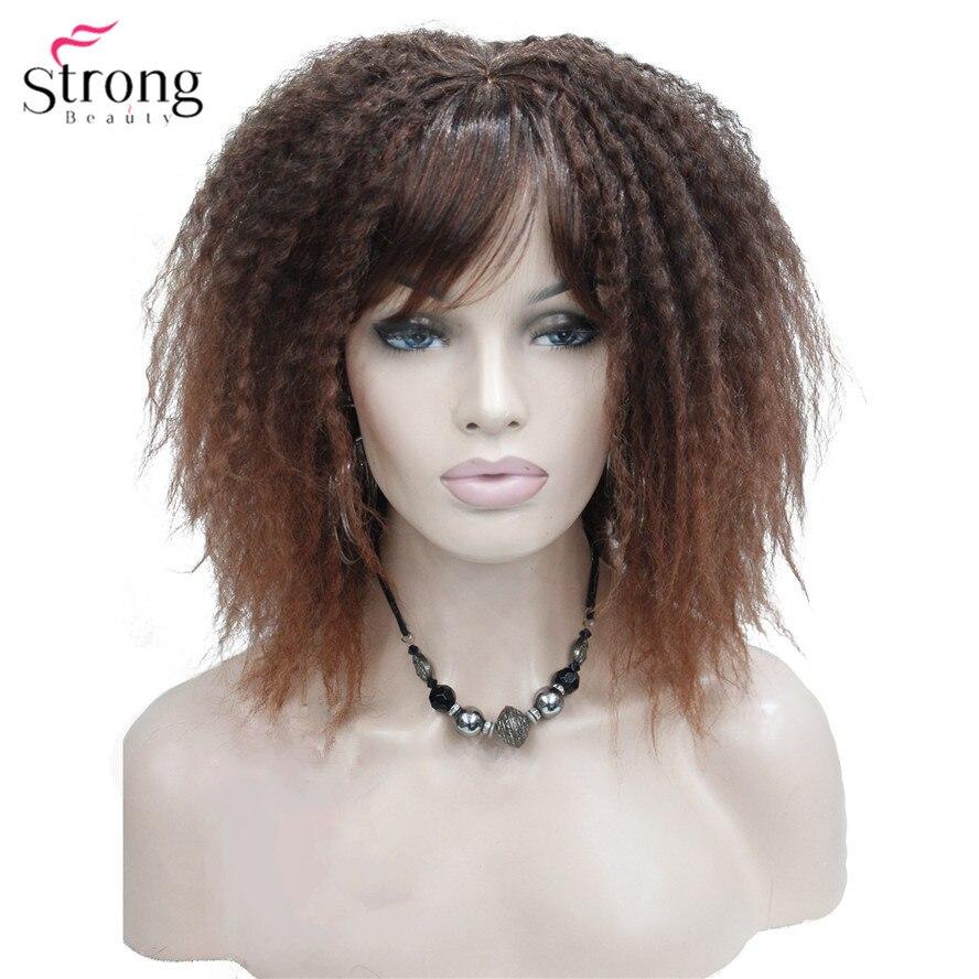 Forte beauté afro-américaine perruques ombre cheveux crépus bouclés longueur moyenne noir/Auburn perruque synthétique