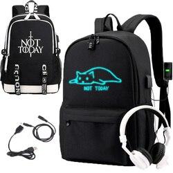 IMIDO-sac à dos à bandoulière lumineux noir, sac à dos de grande capacité pour étudiants, sacoche de voyage de personnalité pour adolescents