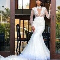 Sexy Lace Full Sleeve WeddingDress backless cutout bridal Mermaid gown 2019 vestido de noiva