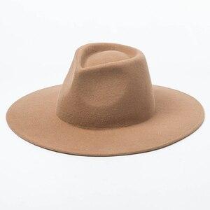 Image 5 - 100% Wool Classical Wide Brim Porkpie Fedora Hat Camel Black Hats Men Women Crushable Winter Hat Derby Wedding Church Jazz Hats