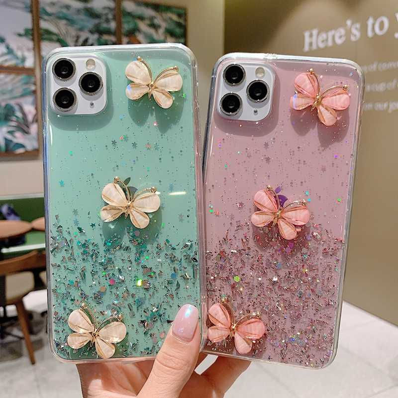 Bling Glitter Star Butterfly Case untuk iPhone 11 Pro XS Max XR X Transparan Silikon Case untuk iPhone SE 2020 8 7 6 6S Plus Cover
