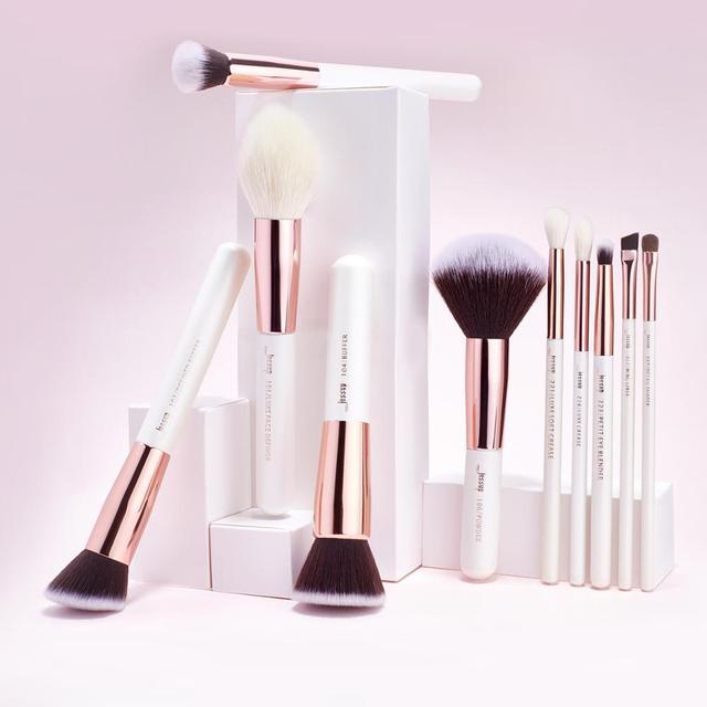 Jessup brushes Pearl White/Rose Gold Makeup brushes set Professional Beauty Make up brush Natural hair Foundation Powder Blushes 5