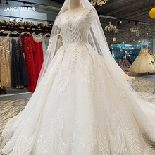 LS32009 elegant ivory wedding dress o neck short sleeve lace up back ball gown bridal wedding gown with veil china wholesale
